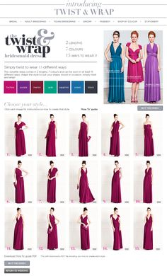 Twist & Wrap Dress - 2 lengths, 7 colours, 15 ways to wear it ~ this looks clever Phoe, it depends on how nice the fabric looks in real life as well though and whether it does what it says on the tin!
