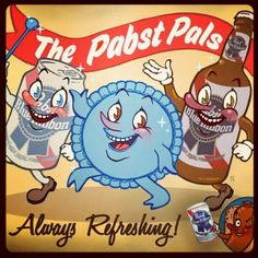 Old school ad for the Pabst Pals! Those WERE the good old days (I think? I can't seem to remember.Too much Pabst I guess). Vintage Advertisements, Vintage Ads, Vintage Beer Signs, Beer Cartoon, Milwaukee Beer, Old Beer Cans, American Beer, Beer Quotes, Beer Poster