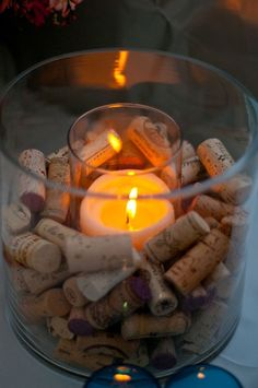 wine cork candle holder- love this! But I would write dates and occasions on all the corks Wine Cork Candle, Candle Jars, Candle Holders, Candle Centerpieces, Wine Candles, Wine Bottle Centerpieces, Flameless Candles, Floating Candles, Centerpiece Ideas