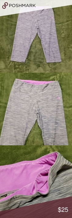 RBX Athletic Blue Lavender Capri Workout Pants XL 88% polyester 12% spandex. Heather blue With Lavender Accents. Hidden pocket on top waistband.  Very minimal washwear, no rips, stains or repairs.  Machine wash cold. Capri cropped style.  (6) RBX Pants Capris