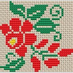 floral cross stitch borders | Embroidery design of Floral Hand Cross Stitch Motif 69mm x 67mm ...