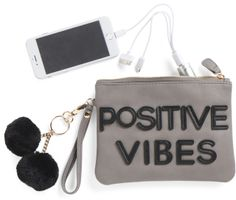 Positive Vibes Pouch With Charger #positivevibes #saying