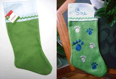 Pet Stocking, Free project using Kreinik Iron-on Thread. Easy way to personalize a cheap felt stocking.