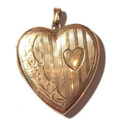Antique Vintage 10k Yellow Gold Heart Locket Pendant Etched Design  #Locket