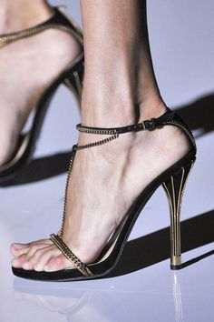 Gucci Spring 2012 RTW - gold chain t-strap gold heels