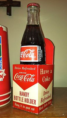 1953 Cardboard Coca Cola bottle  holder, would hang off radio knob on older model cars.