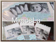 Cartões e convites com recortes especiais para batizado, aniversário, chá de bebê.
