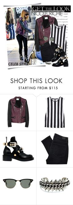 """""""Nicole Richie / Top set for Dec 26th, 2012"""" by majksister ❤ liked on Polyvore featuring Balenciaga, IRO, Ksubi, Paige Denim, Ray-Ban, DANNIJO, stripes, oversized sunglasses, striped sweaters and biker boots"""