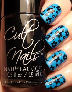 Cult Nails Nevermore used to stamp with Mash Plate #45 over Purple Professional #13. | From The TraceFace Philes
