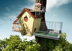 Sparkasse - Little Houses (Art: Pablo Schencke, Copy: Sergio Penzo) Bird House Feeder, Bird Feeders, Cgi, Still Photography, Product Photography, Bird Boxes, Pet Costumes, Birds Eye View, Animal House