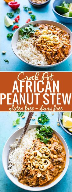 Fiery Crock Pot West African Peanut Stew! A wholesome gluten free stew that's packed with nourishment and warming flavors. This African Peanut Stew is great over rice and feeds the whole family! Freezer friendly, dairy free, and made with healthy staple ingredients! (ad) @cottercrunch