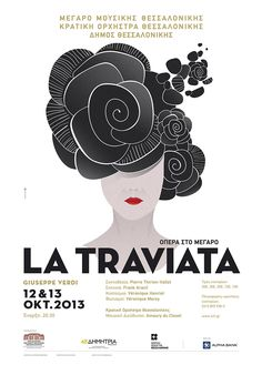"""Poster and program by agency dolphins communication design for the famous opera of Giuseppe Verdi """"LA TRAVIATA"""", at Thessaloniki Concert Hall in collaboration with the State Orchestra of Thessaloniki."""