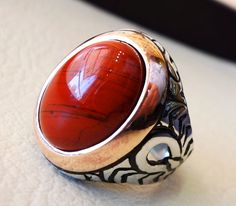bague homme pur jaspe rouge pierre naturelle par AbuMariamJewels