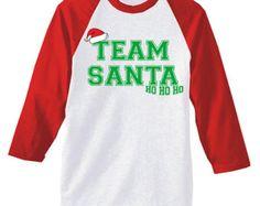 Funny Unisex Team Santa Raglan 3/4 Sleeve Baseball Tee Christmas American Apparel Shirt Tshirt T-shirt Tee Long Sleeve Family Kids infant's