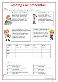 An activity to practice reading and comprehension. There are four small texts an… An activity to practice reading and comprehension. There are four small texts. Teaching English Grammar, English Writing Skills, English Reading, English Language Learning, Language Arts, German Language, Japanese Language, Teaching Spanish, Spanish Language