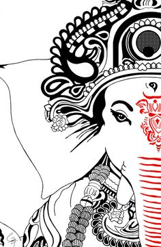 Make this Ganesha Chathurthi 2020 special with rituals and ceremonies. Lord Ganesha is a powerful god that removes Hurdles, grants Wealth, Knowledge & Wisdom. Buddha Drawing, Doodle Art Drawing, Illustration Art Drawing, Pencil Art Drawings, Art Drawings Sketches, Creative Pencil Drawings, Indian Illustration, Mask Drawing, Pencil Sketch Drawing