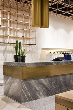 Mim Design _ Joe Black — Shannon McGrath- beautiful retail cash desk design and architecture House Design, Office Interior Design, Reception Desk Design, Desk Design, Hotel Interior Design, Interior Design, Minimalist Interior, Lobby Design, Hotel Interiors