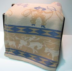 Vintage Cowboy Camp Blanket with Lassoing Cowboys and Broncos by VintageCreekside, $65.00