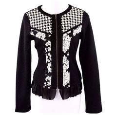 """Black White Textured Houndstooth Zip Sweater ‼️ PRICE FIRM UNLESS BUNDLED WITH OTHER ITEMS FROM MY CLOSET ‼️   Size Medium  Retail $99  BEAUTIFUL!!!  Classic houndstooth & subtle floral pattern.  Super soft!  Zips up the front.  Love the sheer hem!  Lots and lots of stretch for a perfect & comfortable fit!  Shell: 98% polyester, 2% polyurethane. Contrast A&B: 65% cotton, 35% polyester. Contrast C: 100% polyester.   Armpit to armpit 36""""  Shoulders 19""""   Sleeves 26""""  Waist 33""""  Length of…"""