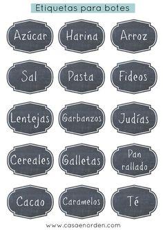 Dales un toque divertido a tus botes de cocina con estas etiquetas.  Espero que te gusten   Enlace:   http://casaenorden.com/blog/etiquetas-...