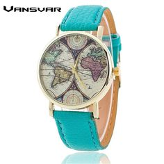 Vansvar Brand Fashion World Map Watch Casual Women Quartz Watch Relogio Feminino Gift 1539 //Price: $2.89 & FREE Shipping //
