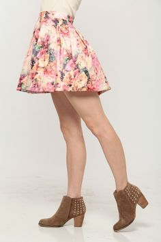 Water Paint Floral Pleated Skirt