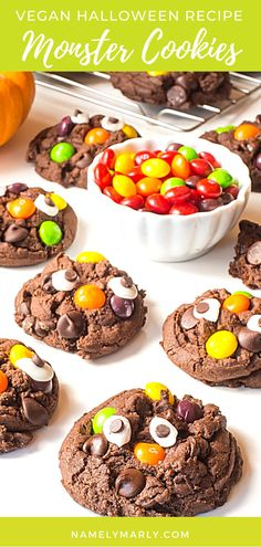 Everyone will smile seeing these yummy Halloween Monster Cookies! They look so fun and the gooey chocolate cookies, are so good topped with fruity candies, and vegan googly eyes. Happy Halloween!  👻  #halloweencookies #monstercookies #veganhalloween #namelymarly Best Vegan Desserts, Vegan Sweets, Sweet Desserts, Vegan Food, Vegan Recipes, Amazing Cookie Recipes, Best Cake Recipes, Sweets Recipes, 2 Ingredient Cookies
