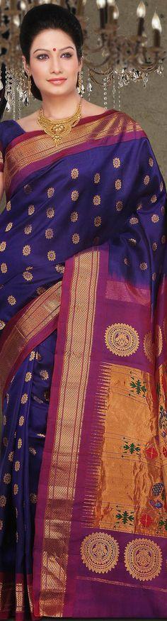 Pure handloom Paithani Silk Saree - original pin by Latest Indian Saree, Indian Sarees Online, Ethnic Fashion, Indian Fashion, Indian Dresses, Indian Outfits, Marathi Saree, Traditional Sarees, Traditional Wedding