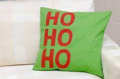 Hand painted and crafted pillow with HOHOHO by ThePillowWorld