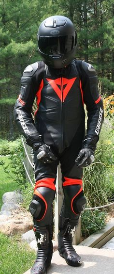 #Dainese one-piece leather suit: Black-Black-Red. #LeatherBiker