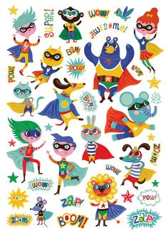 Super hero stickers by Helen Dardik Pattern Illustration, Children's Book Illustration, Character Illustration, Helen Dardik, Baby Helmet, Motif Floral, Baby Art, Art Plastique, Wallpaper