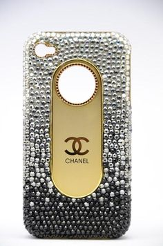 Swarovski crystals fashion Chanel Iphone If I had this cover I would never lose my phone.