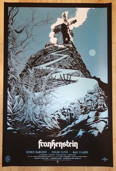 """Frankenstein - variant silkscreen movie poster (click image for more detail) Artist: Ken Taylor Venue: N/A Location: N/A Date: 2014 Edition: 175; signed and numbered Size: 24"""" x 36"""" Condition: Mint No"""