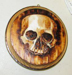 SKULL Death Skeleton Woodburned Pyrography Art by BrianImlayArt