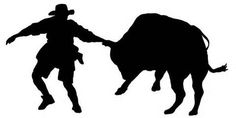 had left our this silhouette of a rodeo clown fending off an angry ...