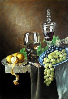 George Grim 'Still life with grapes', 2013 Oil Painting - Free Artist Portfolio