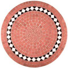 Round mosaic table terracotta white