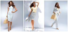 Eine Farbe - drei Looks! Kleid, Rock und Anzug in Silbergrau.