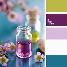 color celeste, color celeste en decoración de un local, color verde oliva suave, color violeta en la decoración, combinaciones de colores, elección del color, selección de colores para el diseño, tonos malva, tonos violetas, verde amarillento.