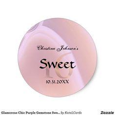 Glamorous Chic Purple Gemstone Sweet 16 Birthday Classic Round Sticker