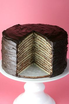 Fourteen Layer Cake-11/23/14-DOUBLE the icing recipe, do not cook icing as long??, do not stack the layers until you are icing them, use skewers to hold layers together until set.