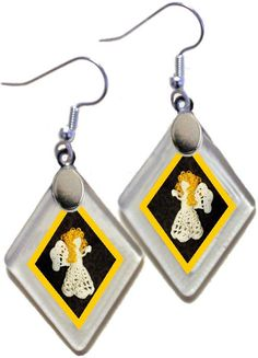 "Earrings ""Crocheted Angels"" from rescued, repurposed window glass~jewelry for your Christmas Holidays! by OnceAWindow on Etsy"