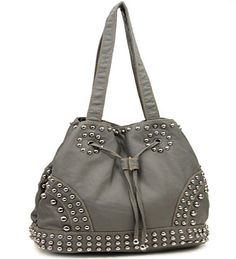 Grey Cinch Tie Stone Washed Studded Purse - Handbags, Bling & More!