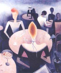 Jan Zrzavý - Café (1923) #art #Czechia #painting Roman Catholic, Art Nouveau, Artist, Painting, Illustrations, Catholic, Artists, Painting Art, Illustration