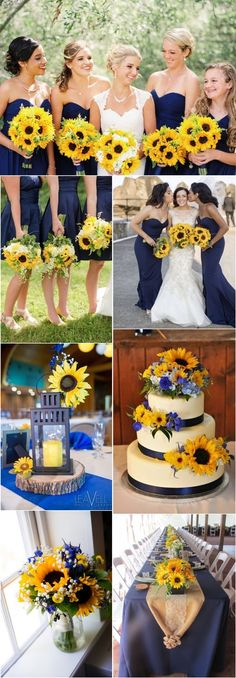 Marine navy blue and sunflower yellow rustic country wedding ideas - Marine navy blue and sunflower wedding color ideas #weddings #weddingcolors #blue #blueweddings #wedding #weddingideas #deerpearlflowers Wedding Planning