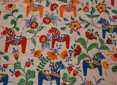 Sweden design cotton canva fabric from ARVIDSSONS Textil, Dala horses design half meter/ ohalf yard. £4.50, via Etsy.