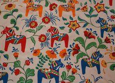 Sweden design cotton canva fabric from ARVIDSSONS Textil, Dala horses design half meter/ ohalf yard. £4.50, via Etsy.