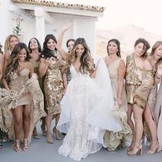 ykonos sizzles hot and so did our stunning bride Lana in her gown and who rocked her bridal party along with her gold attired Bad Bridesmaid Dresses, Bridal Dresses, Mykonos, Santorini Wedding, Themed Outfits, Ivory Wedding, Dream Wedding Dresses, Wedding Season, Wedding Inspiration