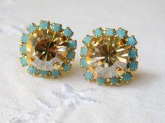 Champagne Swarovski crystal stud earrings by EldorTinaJewelry, $28.00