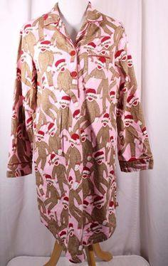 Nick & Nora Size L Flannel Sock Monkey L/S Sleep Shirt #NickNora #SleepShirt